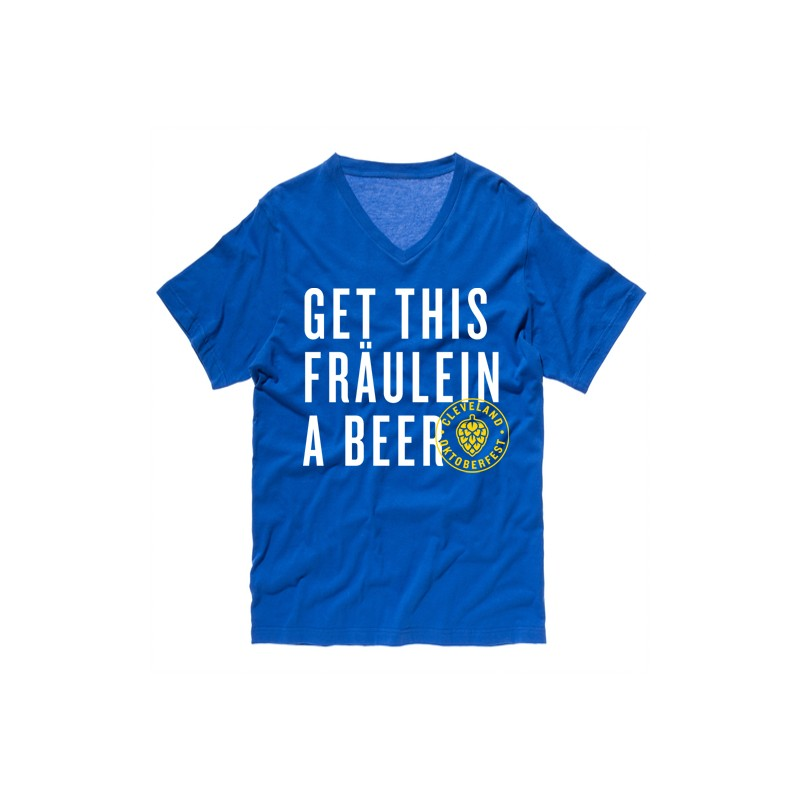 """Blue """"Get This Fraulein A Beer"""" T-Shirt"""